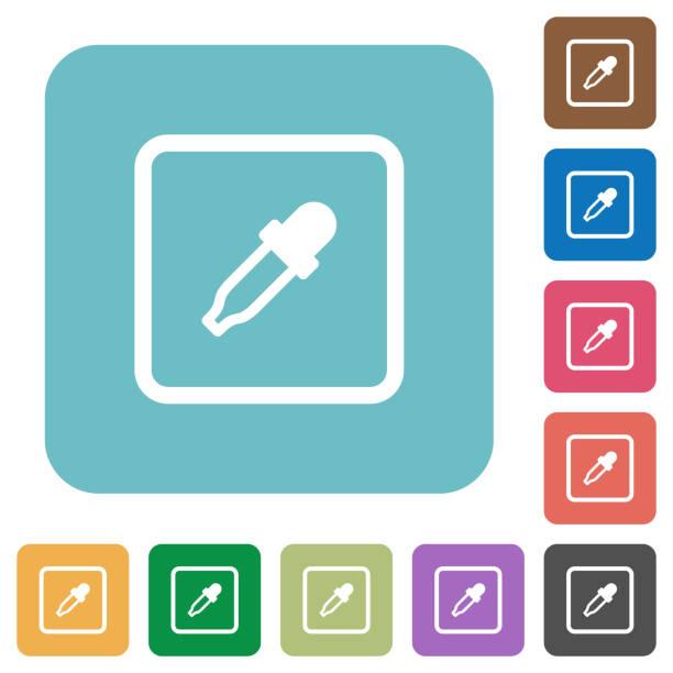 illustrazioni stock, clip art, cartoni animati e icone di tendenza di get object color rounded square flat icons - raccogliere frutta