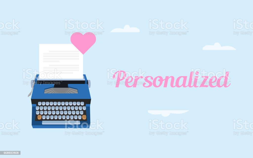 se a ilustração de carta de amor personalizada com papel branco e digitando máquina e símbolo de amor-de-rosa - ilustração de arte em vetor
