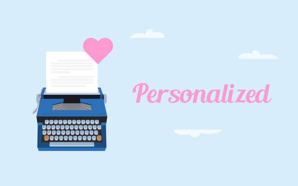 ilustrações, clipart, desenhos animados e ícones de se a ilustração de carta de amor personalizada com papel branco e digitando máquina e símbolo de amor-de-rosa - fontes e tipografia