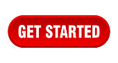 get started button. get started rounded red sign. get started