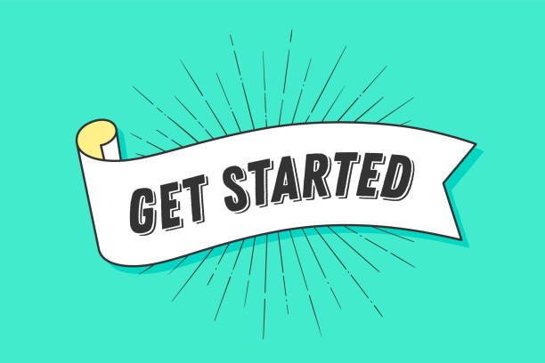 get started. vintage ribbon - początki stock illustrations