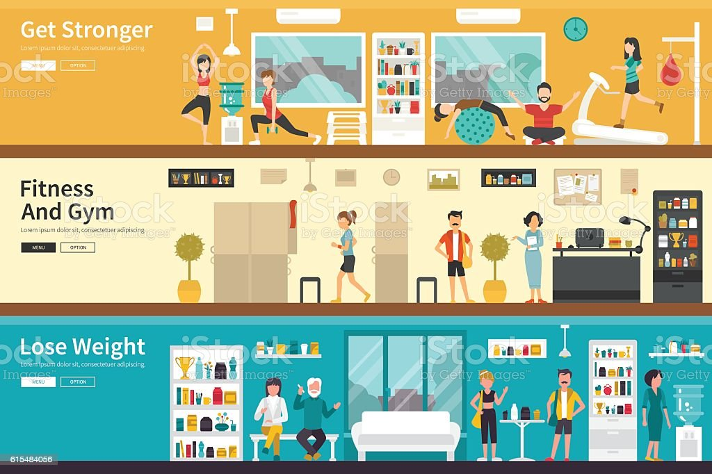 Get Stronger Fitness And Gym Lose Weight flat interior outdoor vector art illustration