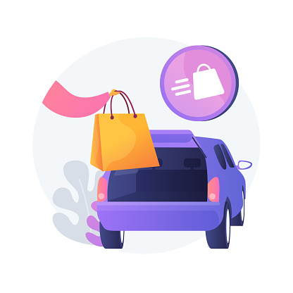 Get supplies without leaving your car abstract concept vector illustration. Curbside pickup, order number, call the store, contactless grocery pick-up, place order in trunk abstract metaphor.