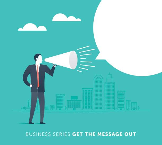 get the message out - small business owner stock illustrations