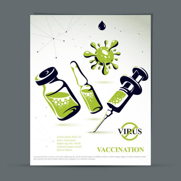 예방 접종 광고 포스터를 가져옵니다. 의료 병의 벡터 그래픽 그림, 주사에 대한 의학 및 주사기 앰플. - 앰풀 stock illustrations