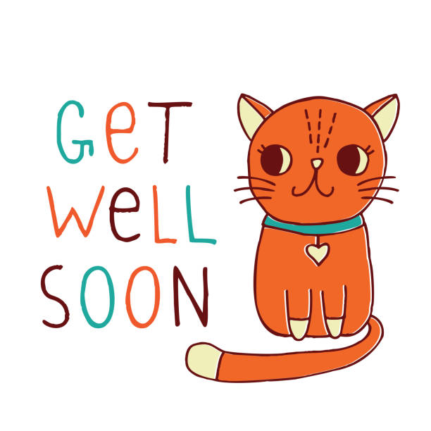 get well soon, a card with a hand drawn red cat - get well soon stock illustrations, clip art, cartoons, & icons