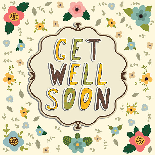 get well soon card. floral frame - get well soon stock illustrations, clip art, cartoons, & icons