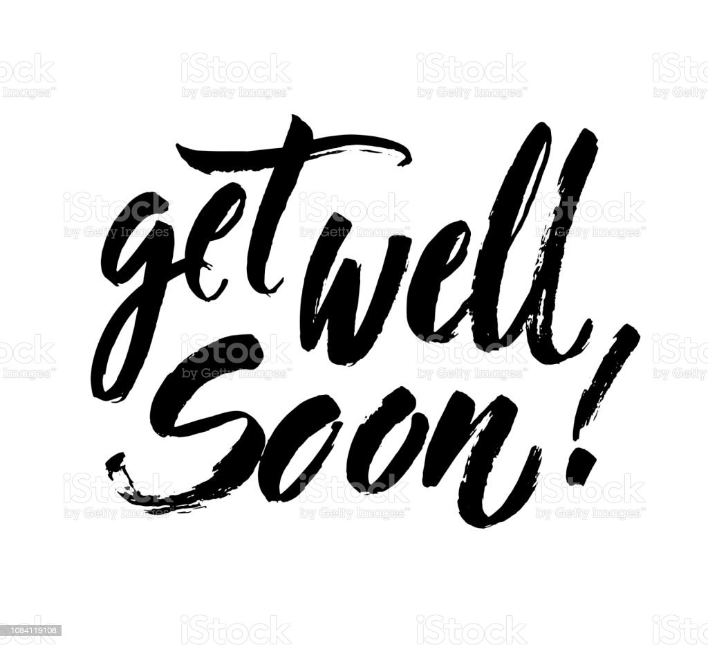 Get Well Soon Card Positive Quote Ink Illustration Modern