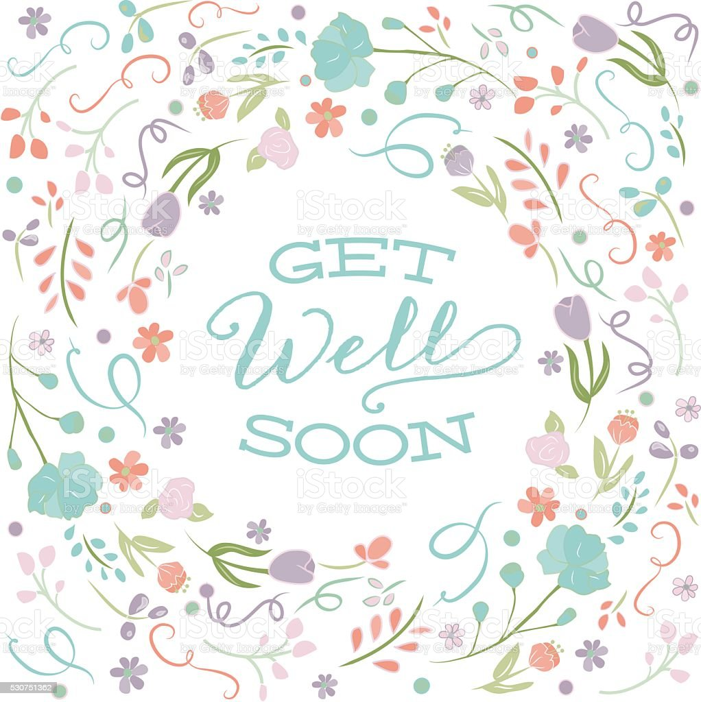 get well soon card template text floral border frame stock vector