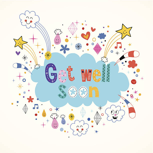 get well soon card - get well soon stock illustrations, clip art, cartoons, & icons