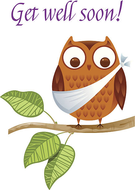 a get well soon card with an injured owl - get well soon stock illustrations, clip art, cartoons, & icons