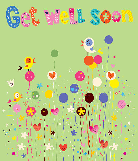 get well soon card with birds, flowers and hearts - get well soon stock illustrations, clip art, cartoons, & icons