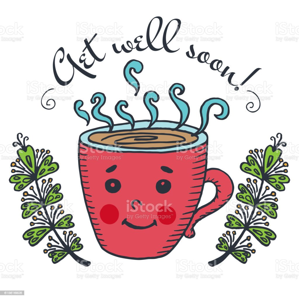 get well soon card with cup of tea stock vector art more images of rh istockphoto com get well soon clipart black and white get well soon clip art free