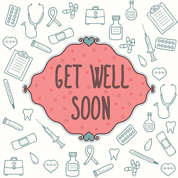 get well soon card with green medical graphics on white - get well soon stock illustrations, clip art, cartoons, & icons