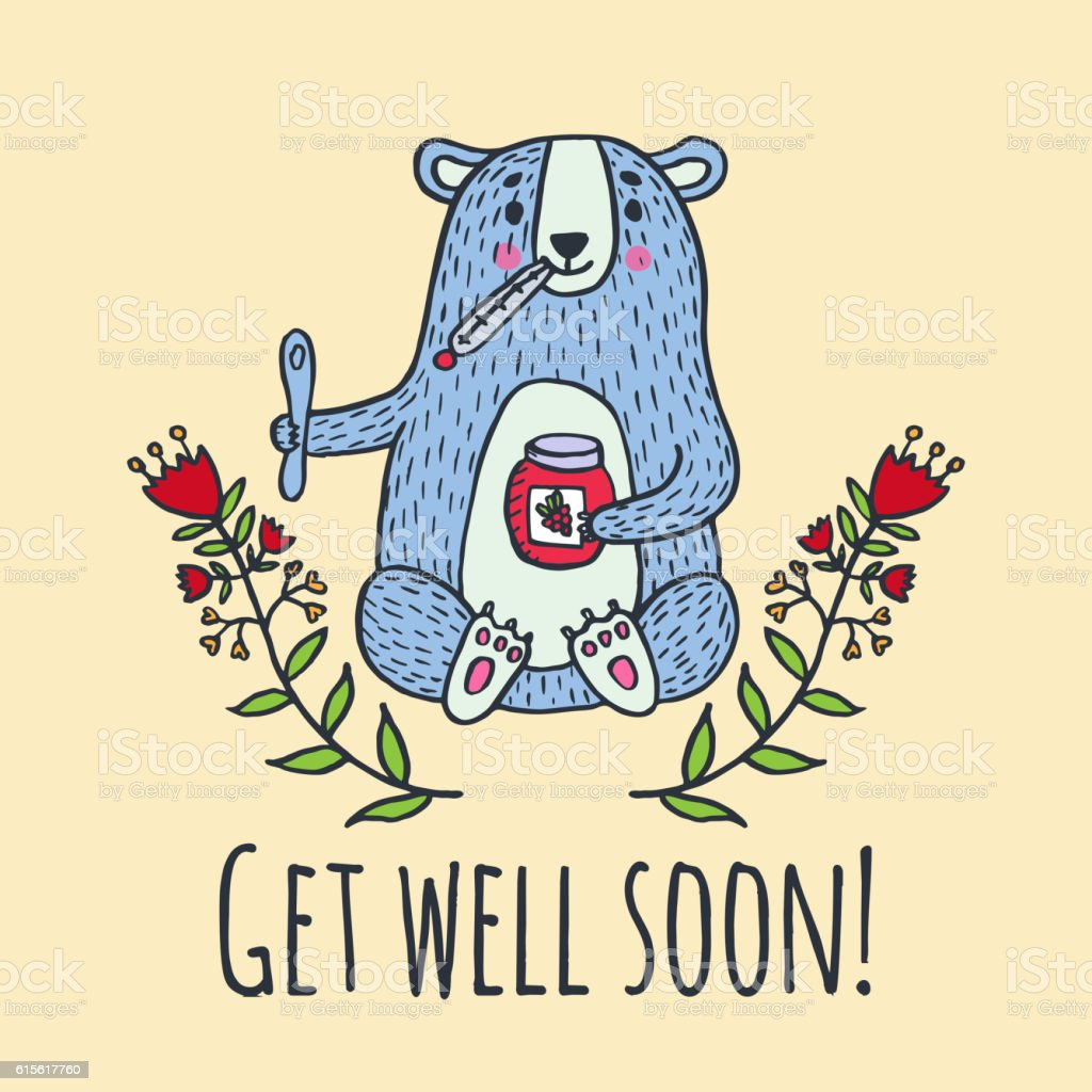 get well soon card with teddy bear and jam イラストレーションの