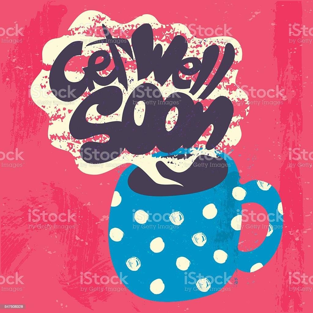 Get Well Soon Decorative Card. vector art illustration
