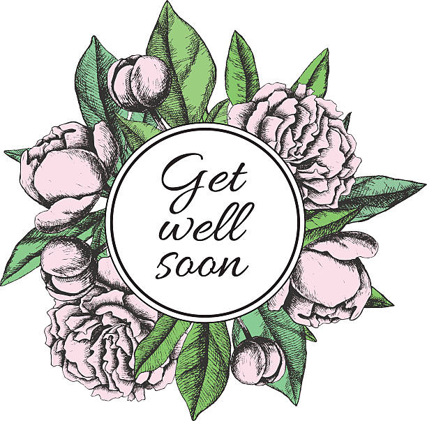 get well soon. friendly vector vintage card - get well soon stock illustrations, clip art, cartoons, & icons