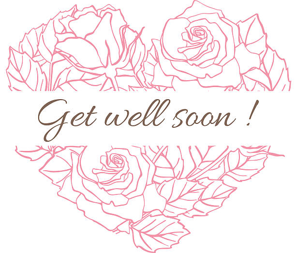 get well soon. friendly vector vintage card with flower drawing - get well soon stock illustrations, clip art, cartoons, & icons