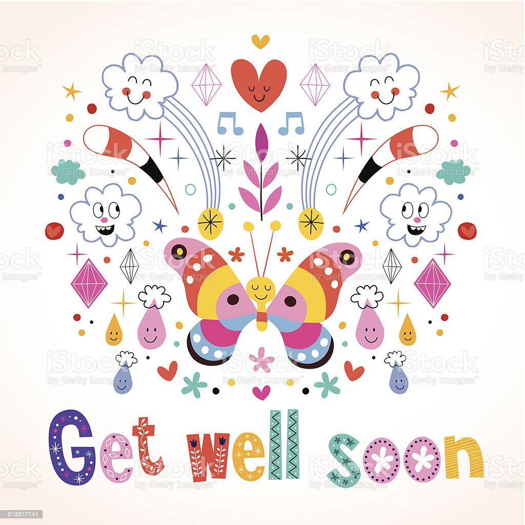 Get well soon greeting card vector art illustration