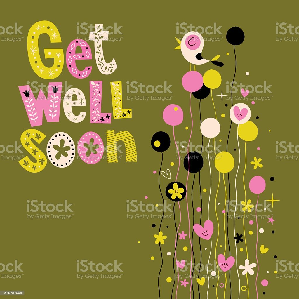 Get Well Soon Greeting Card Stock Vector Art More Images Of Bird