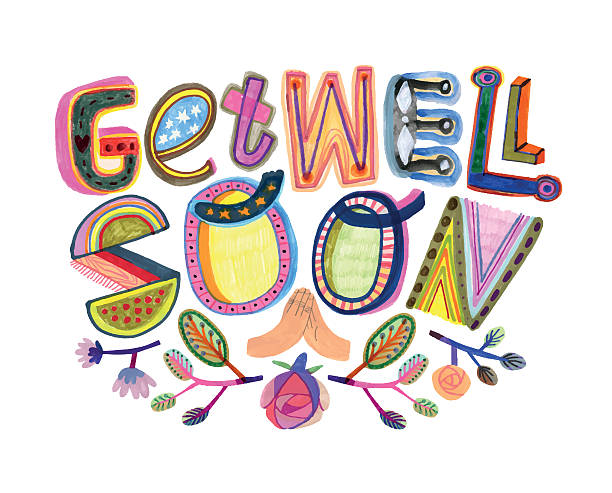 get well soon message with hand drawn letters - get well soon stock illustrations, clip art, cartoons, & icons