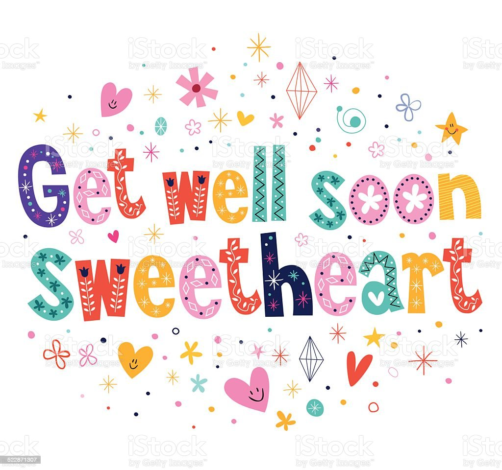 Get well soon sweetheart greeting card vector art illustration