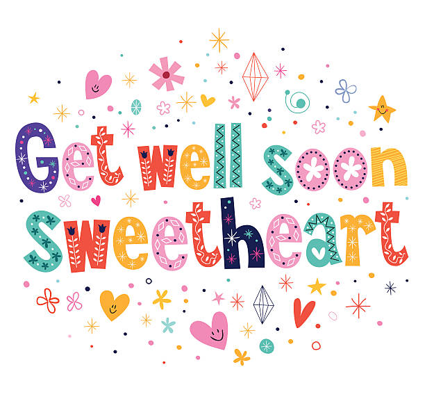 get well soon sweetheart greeting card - get well soon stock illustrations, clip art, cartoons, & icons