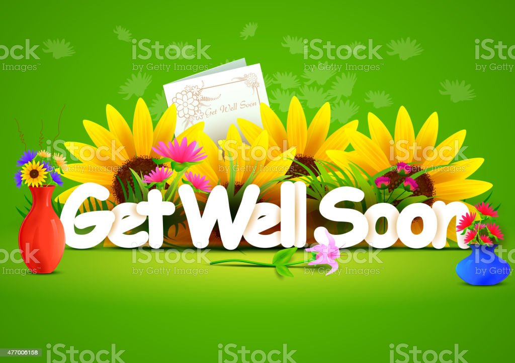 Get well soon wallpaper background vector art illustration