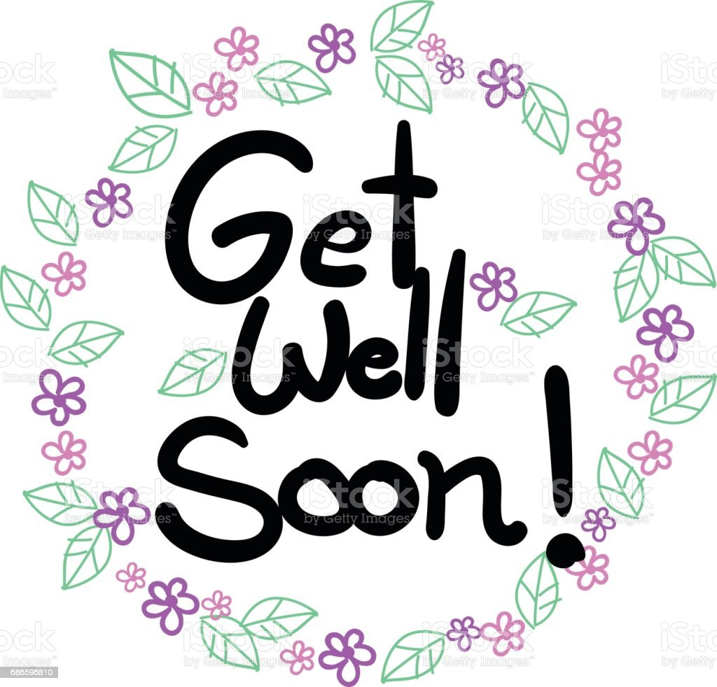 Get well soon wording in flowers and leaves frame background vector art illustration