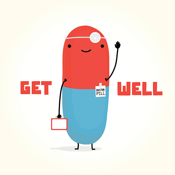 get well with doctor pill - get well soon stock illustrations, clip art, cartoons, & icons