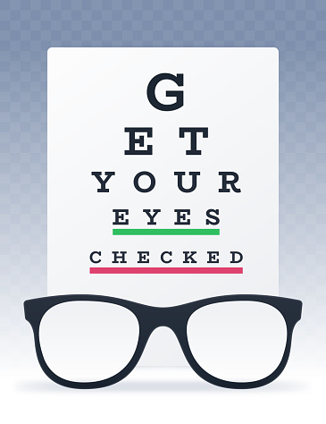 Get Your Eyes Checked Eye Chart and Eyeglasses Vision Test