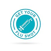 Get your flu shot vaccine sign with blue syringe icon.