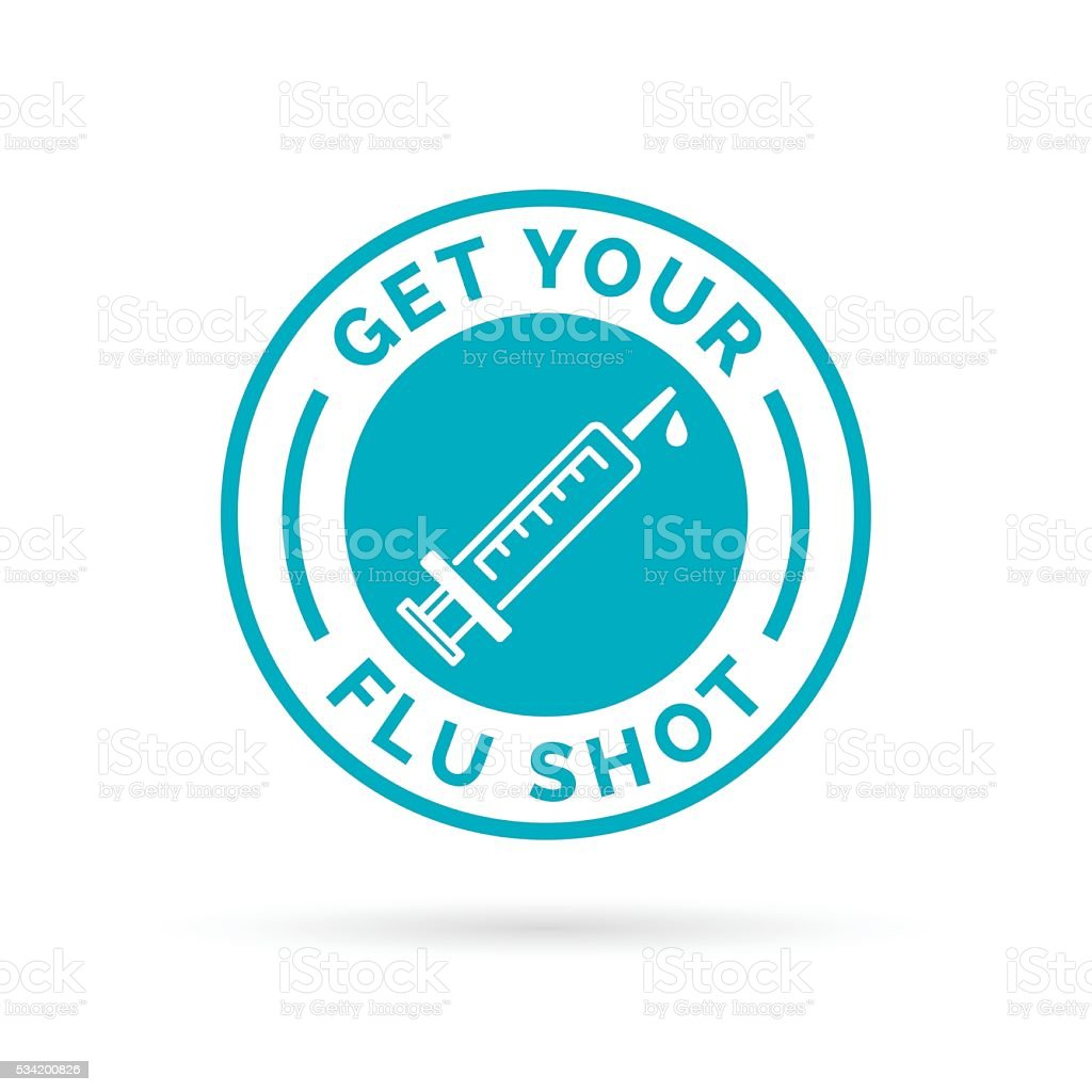 Get your flu shot vaccine sign with blue syringe icon. vector art illustration