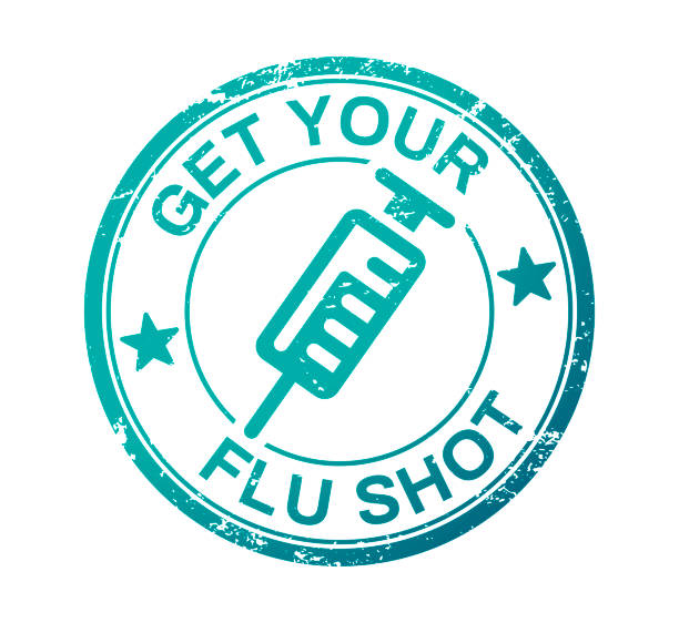 Get Your Flu Shot Get your flu shot stamp concept. flu vaccine stock illustrations