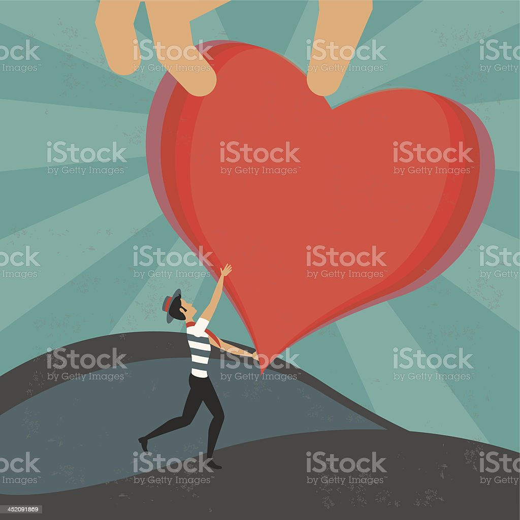 Getting a heart from heaven vector art illustration