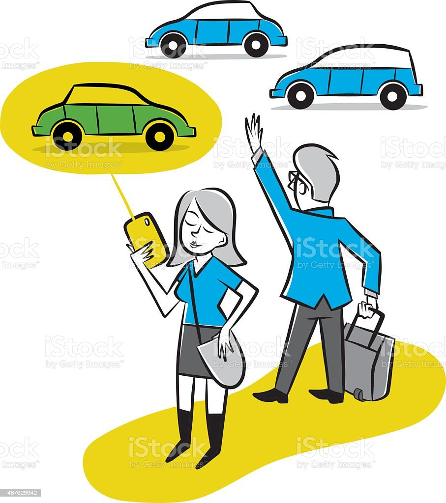 Getting a Ride Home vector art illustration