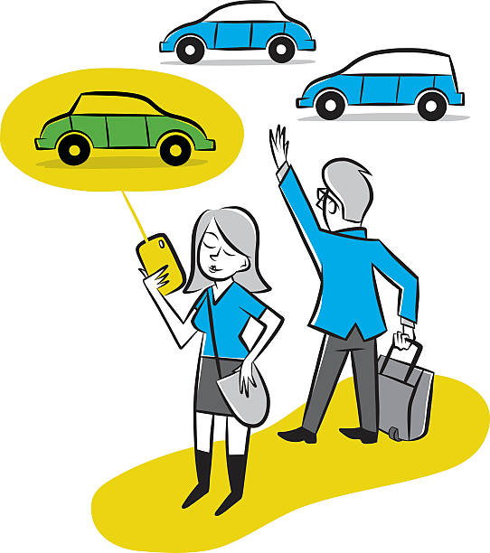 Getting a Ride Home Woman uses a transportation app to conveniently call a car hailing a ride stock illustrations