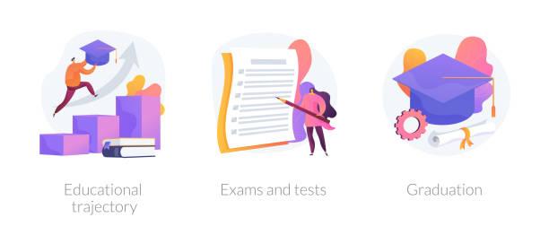 illustrazioni stock, clip art, cartoni animati e icone di tendenza di getting an academic degree vector concept metaphors. - esame università