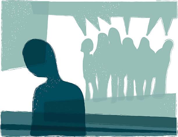 stockillustraties, clipart, cartoons en iconen met getting bullied - solitair