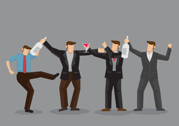 getting drunk at parties cartoon vector illustration - bachelor party stock illustrations, clip art, cartoons, & icons