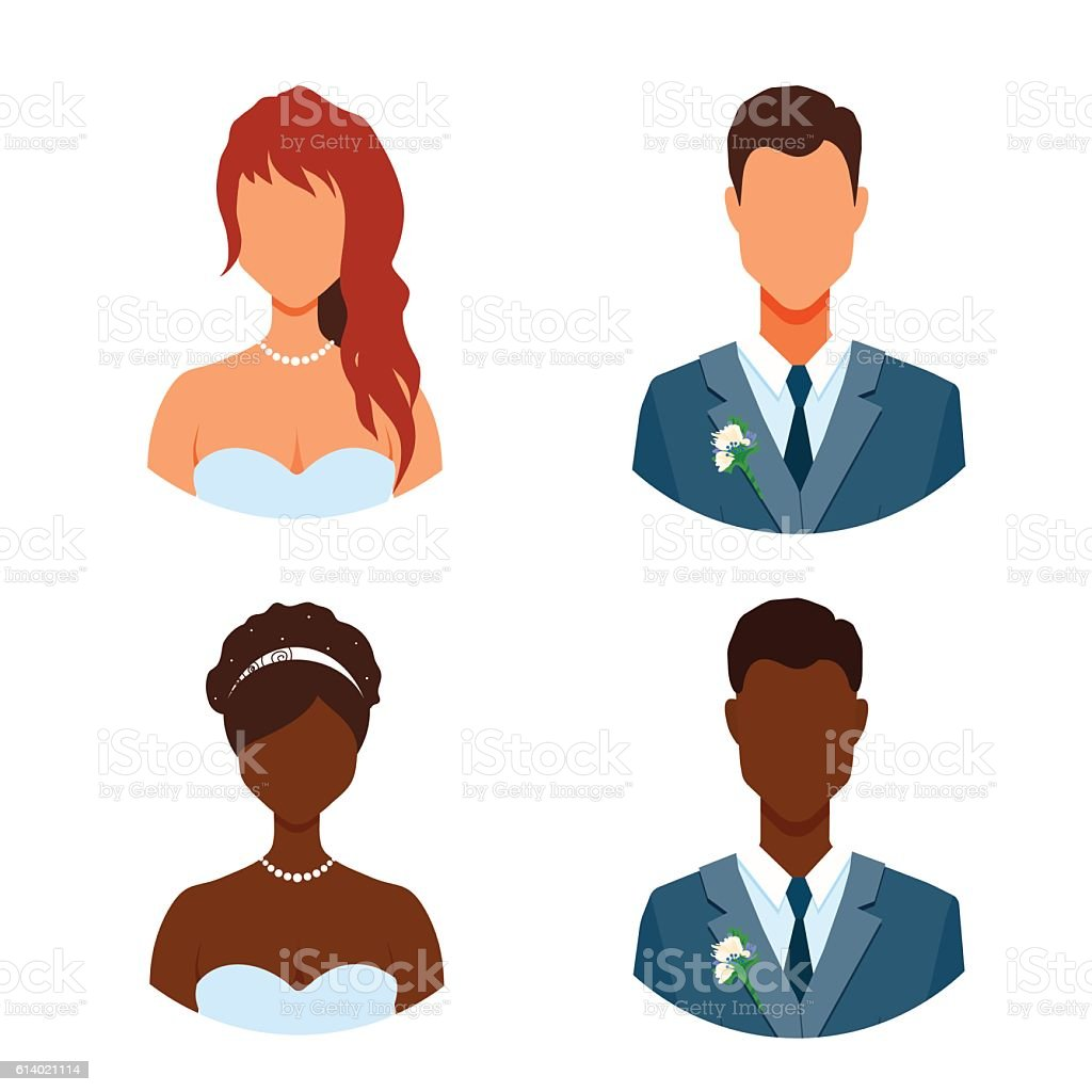 Getting married people avatars without face. vector art illustration