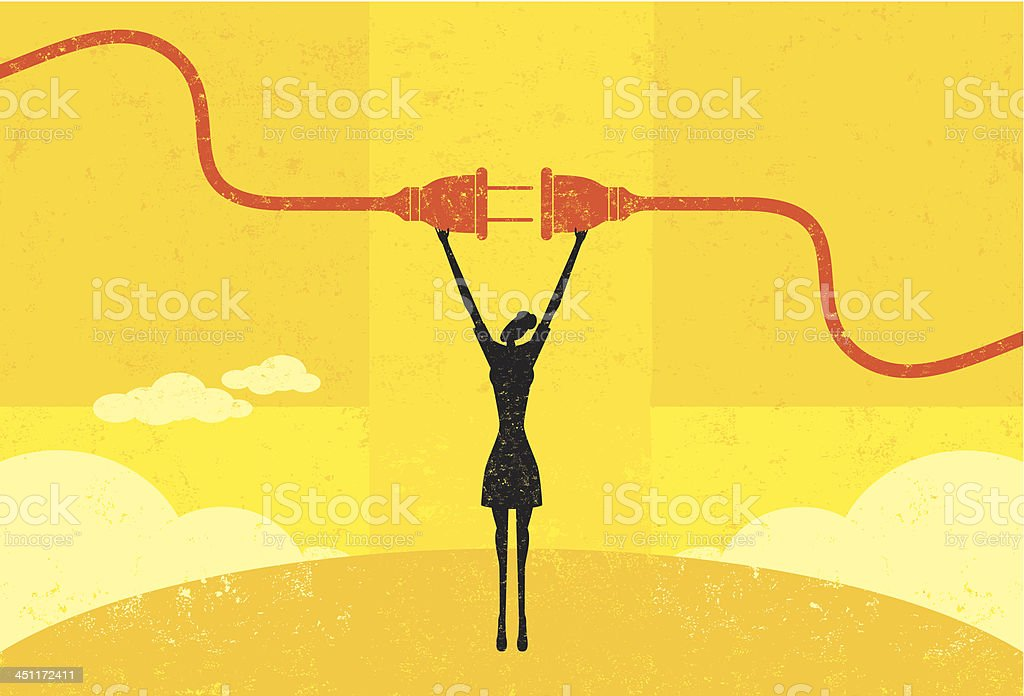 Getting plugged in vector art illustration