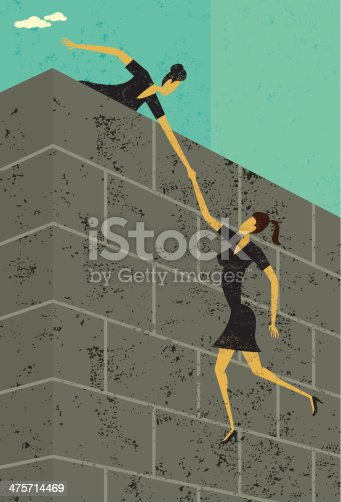 A businesswoman helping another businesswoman get over a large wall. The women & wall and background are on separate labeled layers.