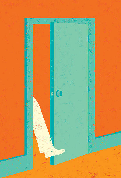 Getting your foot in the door A businessman getting his foot in the door to new opportunity. RETROROCKET stock illustrations