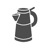 Geyser coffee maker solid icon, morning coffee concept, Turkish coffee kettle sign on white background, Moka pot icon in glyph style for mobile concept and web design. Vector graphics
