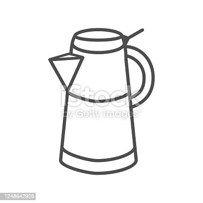Geyser coffee maker thin line icon, morning coffee concept, Turkish coffee kettle sign on white background, Moka pot icon in outline style for mobile concept and web design. Vector graphics