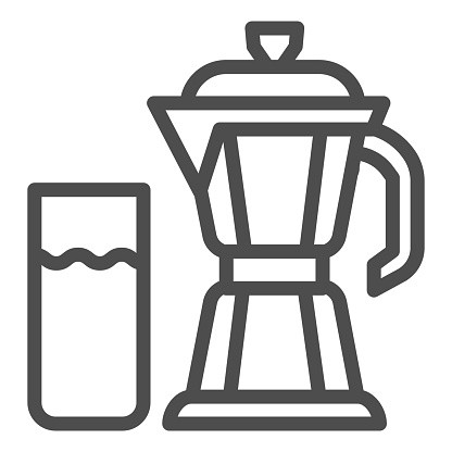 Geyser coffee maker with glass of milk line icon, Coffee time concept, moka pot sign on white background, coffee kettle with milk icon in outline style for mobile and web. Vector graphics.