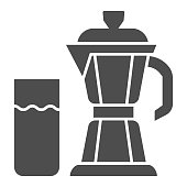 Geyser coffee maker with glass of milk solid icon, Coffee time concept, moka pot sign on white background, coffee kettle with milk icon in glyph style for mobile and web. Vector graphics