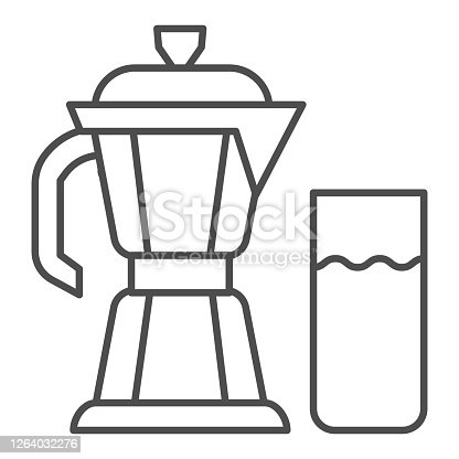 Geyser coffee maker with glass of milk thin line icon, Coffee time concept, moka pot sign on white background, coffee kettle with milk icon in outline style for mobile and web. Vector graphics