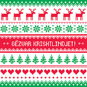 Gezuar Krishtlindjet - Winter red and green gretting card, for celebrating Christmas in Albania - Scandinavian style pattern